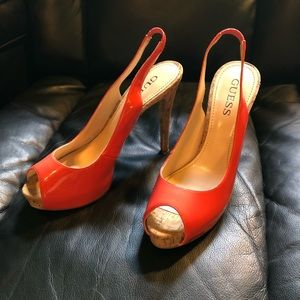 Coral Guess heels size 8.5US LIKE NEW